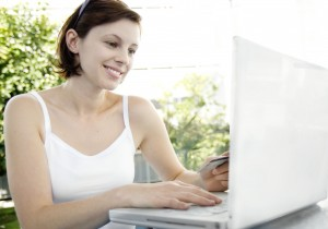young woman making an online purchase